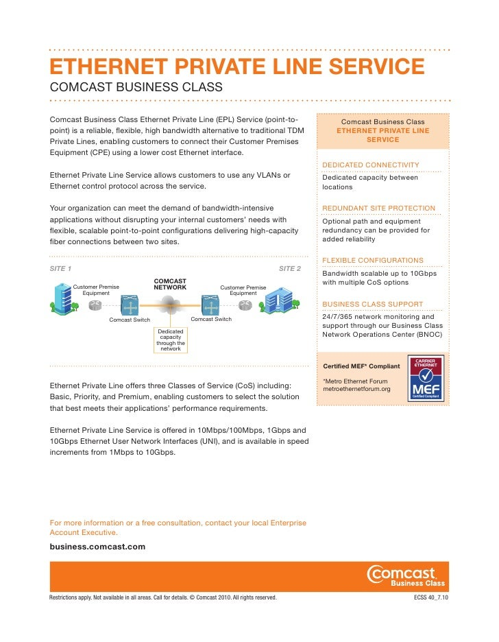 ETHERNET PRIVATE LINE SERVICECOMCAST BUSINESS CLASSComcast Business Class Ethernet Private Line (EPL) Service (point-to-  ...