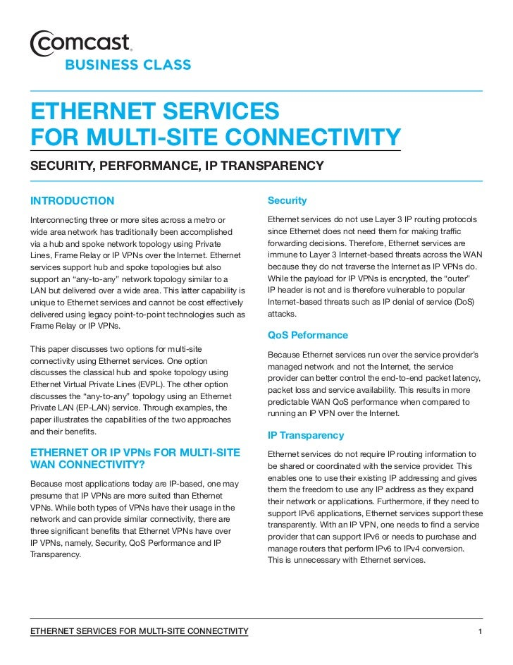 ETHERNET SERVICESFOR MULTI-SITE CONNECTIVITYSECURITY, PERFORMANCE, IP TRANSPARENCYINTRODUCTION                            ...