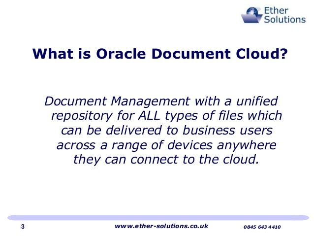 ether solutions implements oracle document cloud With oracle document management cloud