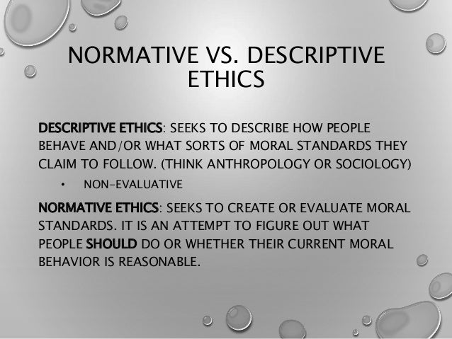 the concept behind normative ethics On the other hand, you could have a non-normative concept which picks out the good items under some other, non-normative guise (suppose hedonism is true: the concept pleasure then picks out all the good things, but that doesn't make it the concept good .