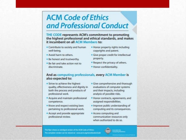 codes of conducts computer ethics Code of ethics for computing or conflict with this code for example, computer users engaged using information technology is no different than similar conduct.