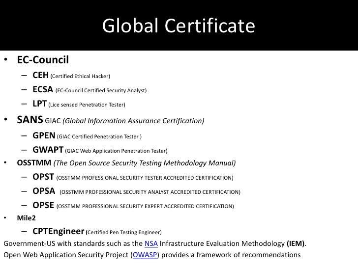 Penetration testing certification