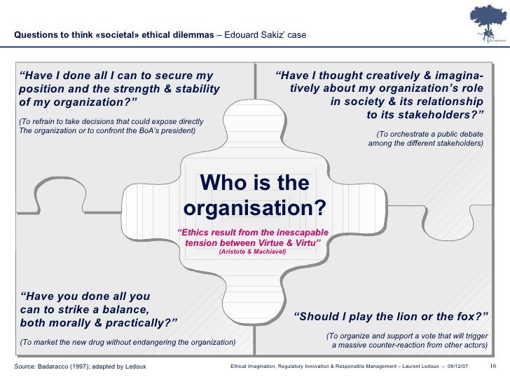 """Questions to think «societal» ethical dilemmas  – Edouard Sakiz' case Who is the organisation? """" Have I done all I can to ..."""