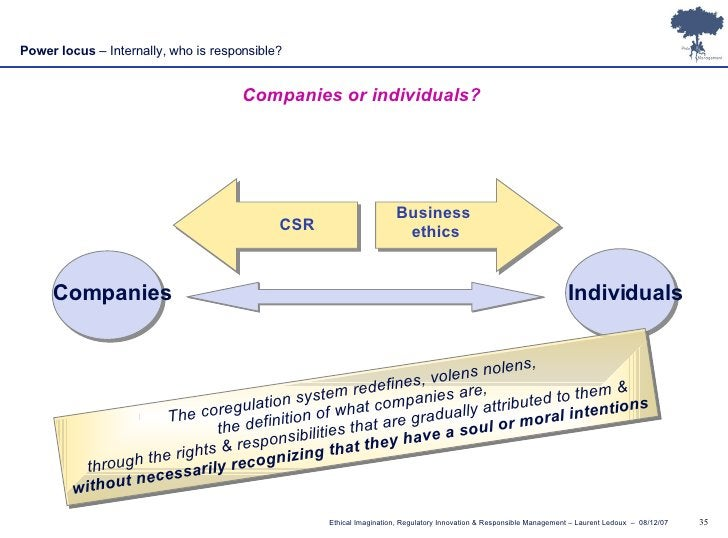 Power locus  – Internally, who is responsible? Companies or individuals? Companies Individuals The coregulation system red...