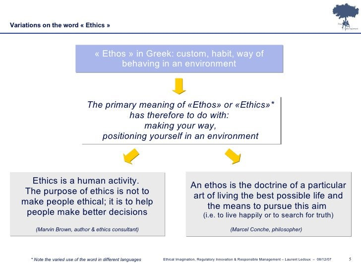 An ethos is the doctrine of a particular art of living the best possible life and the means to pursue this aim  (i.e. to l...