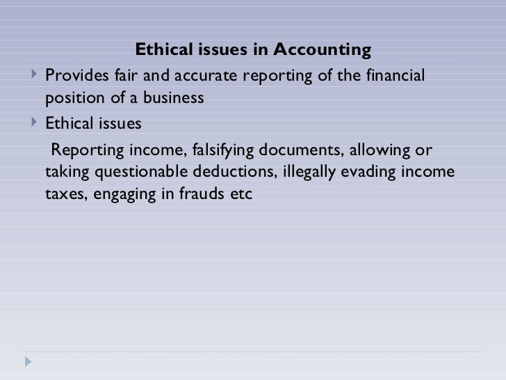 examples of ethical issues in accounting