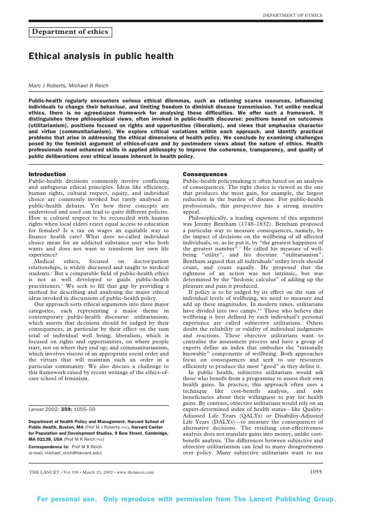 ethics in public health essay Request pdf on researchgate | ethics and utopia: public health theory and practice in the sixteenth centuryan essay comparing the henrician medical act of 1540 and more's 1530 ordinances, with thomas more's novel 'utopia' of 1516 | this essay places the early modern origins of the ethico-legal structure of medicine, in which eventually.