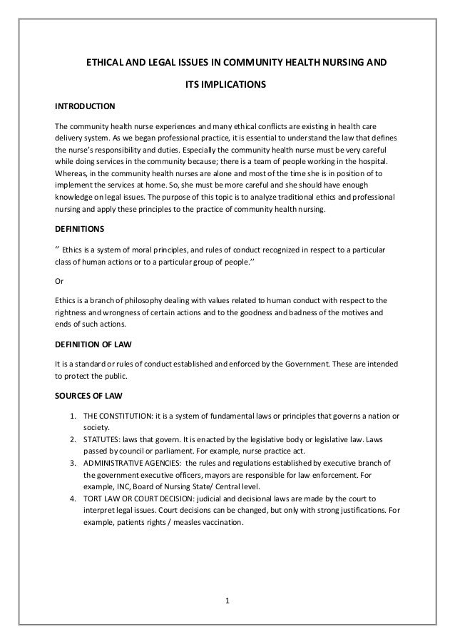 ethical and legal issues in nursing essay Workplace related legal and ethical issues workplace related legal and ethical issues order description week 5 assignment: workplace related legal and ethical issues.