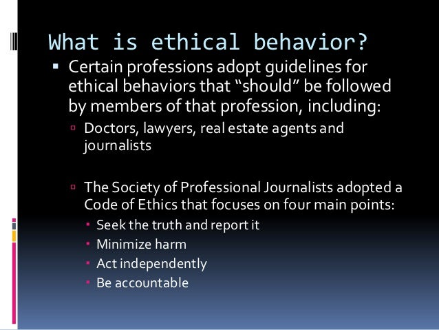 Ethical behavior and journalists