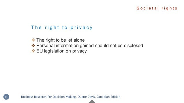 T h e r i g h t t o p r i v a c y  The right to be let alone  Personal information gained should not be disclosed  EU l...