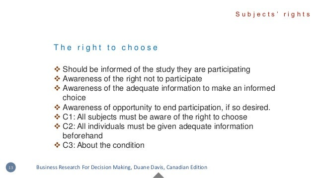 T h e r i g h t t o c h o o s e  Should be informed of the study they are participating  Awareness of the right not to p...
