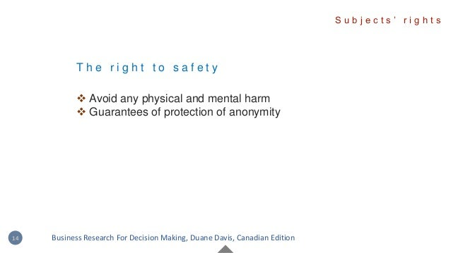 T h e r i g h t t o s a f e t y  Avoid any physical and mental harm  Guarantees of protection of anonymity S u b j e c t...