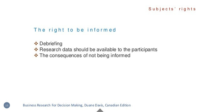 T h e r i g h t t o b e i n f o r m e d  Debriefing  Research data should be available to the participants  The consequ...