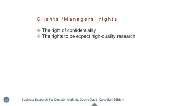C l i e n t s ' / M a n a g e r s ' r i g h t s  The right of confidentiality  The rights to be expect high-quality rese...