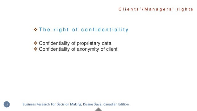  T h e r i g h t o f c o n f i d e n t i a l i t y  Confidentiality of proprietary data  Confidentiality of anonymity o...