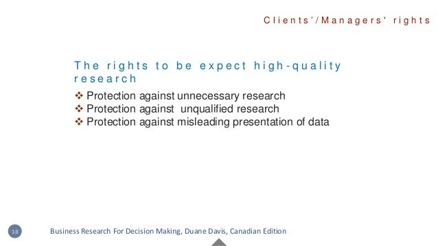 T h e r i g h t s t o b e e x p e c t h i g h - q u a l i t y r e s e a r c h  Protection against unnecessary research  ...