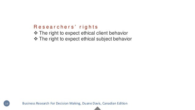 R e s e a r c h e r s ' r i g h t s  The right to expect ethical client behavior  The right to expect ethical subject be...