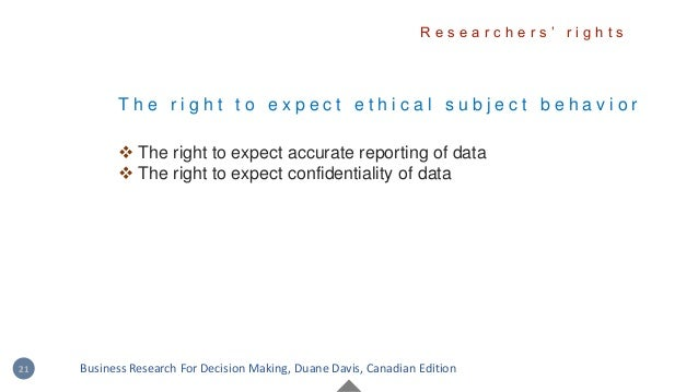 T h e r i g h t t o e x p e c t e t h i c a l s u b j e c t b e h a v i o r  The right to expect accurate reporting of da...