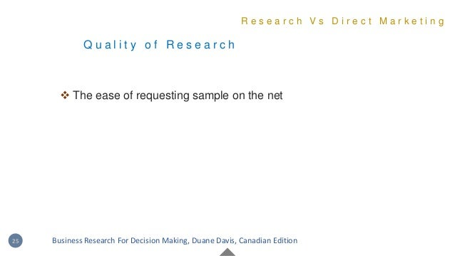 Q u a l i t y o f R e s e a r c h R e s e a r c h V s D i r e c t M a r k e t i n g 25 Business Research For Decision Maki...