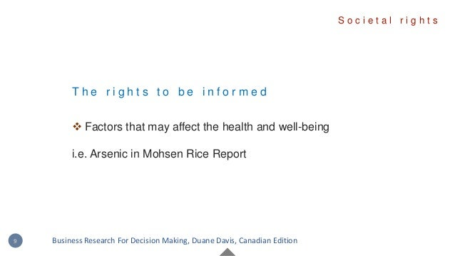 T h e r i g h t s t o b e i n f o r m e d  Factors that may affect the health and well-being i.e. Arsenic in Mohsen Rice ...