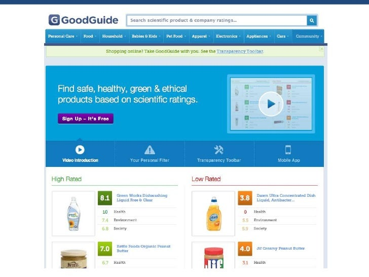 Actionable Information• Summary rating combines health, environmental and social impacts• 0 – 10 scale for ease-of-underst...