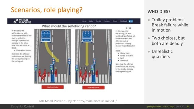 @design4context Ethical Design UXPA 2017 Scenarios, role playing? 30 ● Trolley problem: Break failure while in motion ● Tw...
