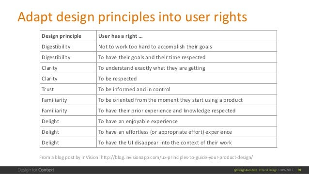 @design4context Ethical Design UXPA 2017 Design principle User has a right … Digestibility Not to work too hard to accompl...