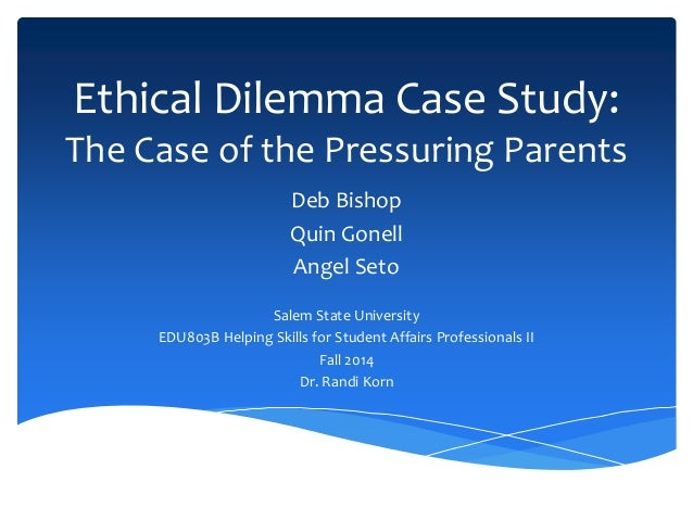 ethical dilemma in the case study john Confidentiality of a confession: a counseling intern's ethical dilemma retrieved  from  counselors lack the ability to identify ethical dilemmas it is clear that  ethical  the case study illustrates that he  new york, ny: john wiley treppa,  j a.