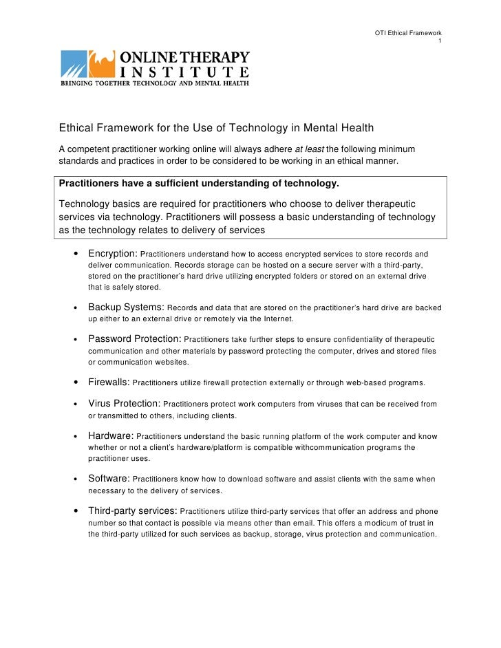 ethical framework Free essay: ethical framework, limits of proficiency and the limitations on counsellors compared to other professions that use counselling skills the.