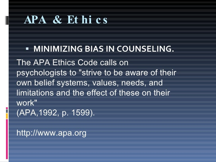 ethic codes used in counseling Counseling minors: ethical and legal issues the american counseling association's (aca) code of ethics and standards of practice require that counselors.