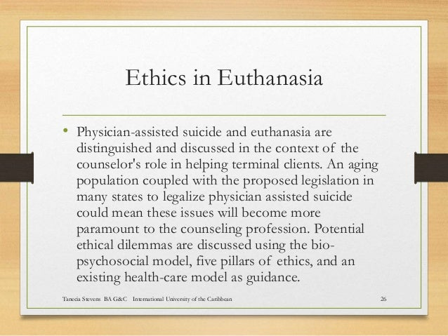 the ethical issues on physician assisted suicide Physician assisted suicide, euthanasia, and dying with dignity are three phrases that are related the terminology used is different in different locations—for example, the united states, canada, or europe physician-assisted suicide refers to the physician providing the means for death, most.
