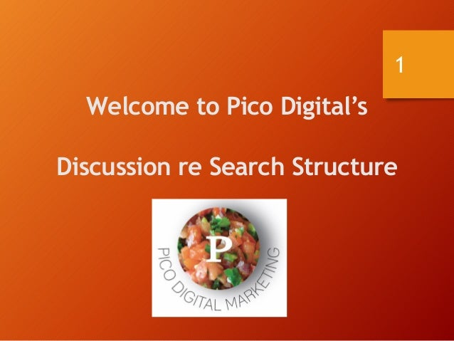 Welcome to Pico Digital's Discussion re Search Structure 1