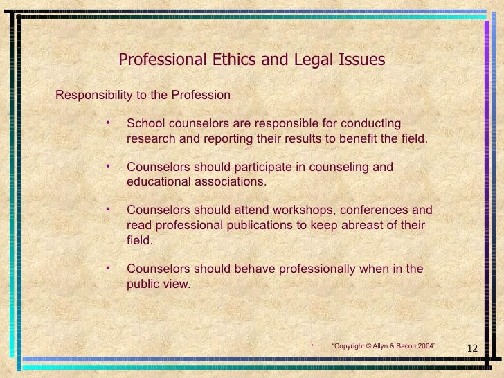 ethical issues for school counselors The ethical standards of asca and the american association for counseling and development (aacd) present school counselors with the behaviors to which they should aspire and give general guidelines for addressing difficult issues.