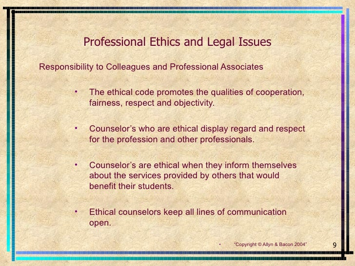 counseling and ethical standards Introduction to naadac/ ncc ap ethical standards the naadac code of ethics was written to govern the regarding ethical and legal issues in counseling.