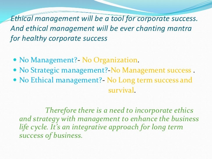 Ethical strategic management process and decision making