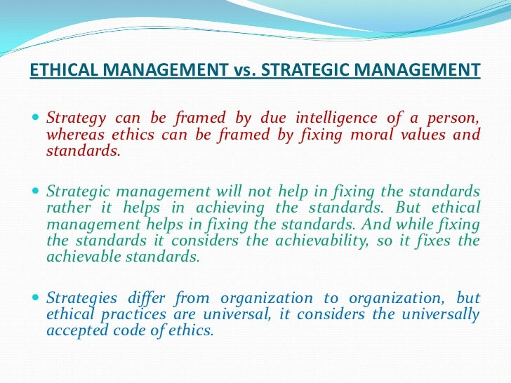Ethics strategic management