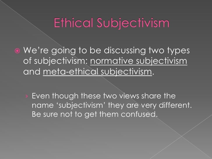 Theory of subjectivism