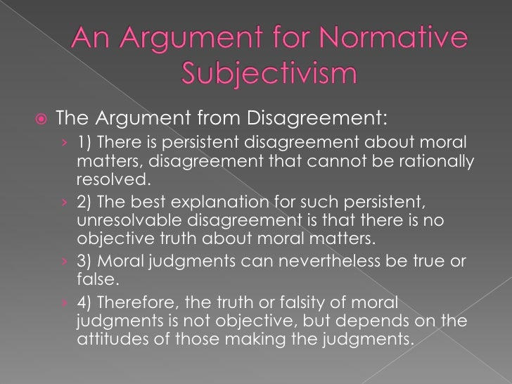 Essays subjectivism in ethics