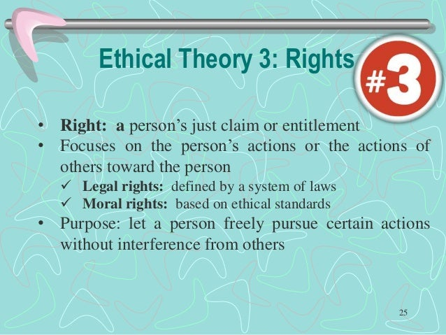 the three ethical perspectives The three ethical perspectives (relativism, emotivism, and ethical egoism), and in chapter 2, examples of how to applyethical theories.