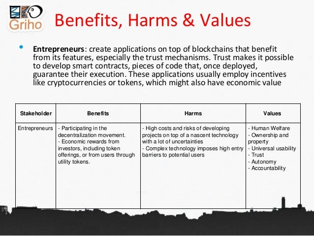Benefits, Harms & Values • Entrepreneurs: create applications on top of blockchains that benefit from its features, especi...
