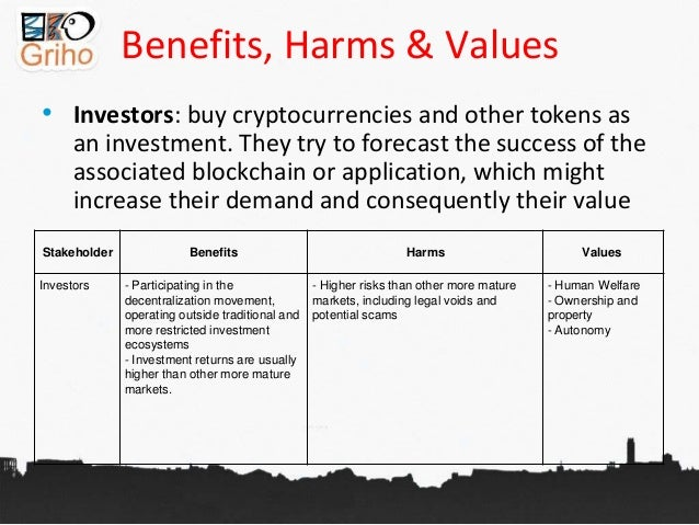 Benefits, Harms & Values • Investors: buy cryptocurrencies and other tokens as an investment. They try to forecast the suc...