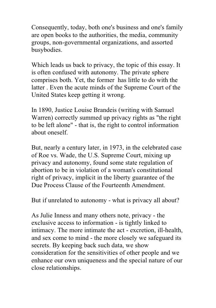 """warren brandeis essay """"the right to privacy"""" warren and brandeis in a diary and to the most valuable poem or essay, to a the right to privacy by samuel warren and louis."""