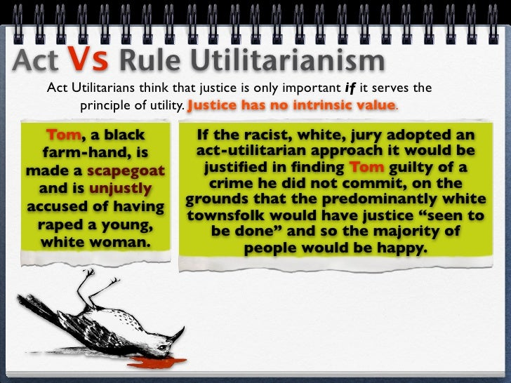 act vs rule utilitarianism Although utilitarianism as a whole is a complicated and flawed ideology, rule utilitarianism (the more sympathetic concept of the two) tends to be more plausible than act utilitarianism.