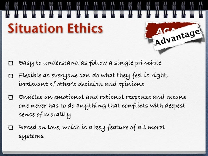 situation ethics essay Situation ethics definition is - a system of ethics by which acts are judged within their contexts instead of by categorical principles —called also situational ethics a system of ethics by which acts are judged within their contexts instead of by categorical principles —called also situational ethics.