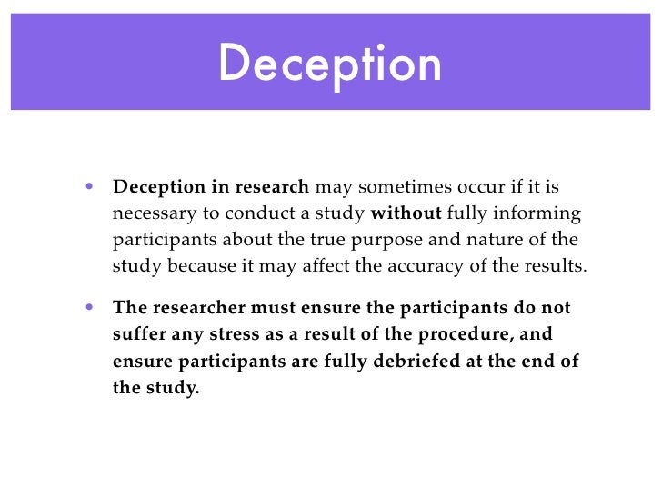 what is deception in psychology
