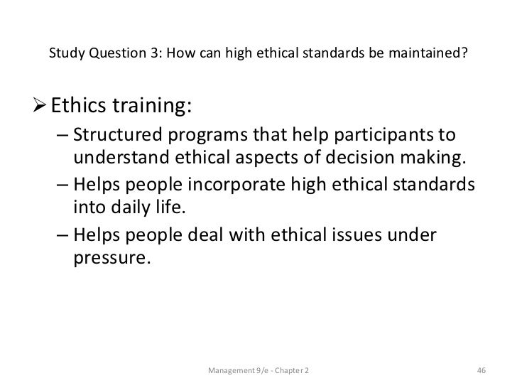 reasons for ethical standards in the The importance of ethics and the application of ethical when we speak of the decline in ethical standards it is for this reason that various law.
