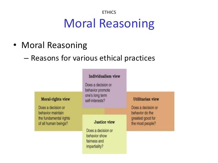 approaches to moral reasoning Ethics and moral reasoning (essay sample  you must make reference to at least two of the approaches that we have examined in  ethics and moral reasoning name.