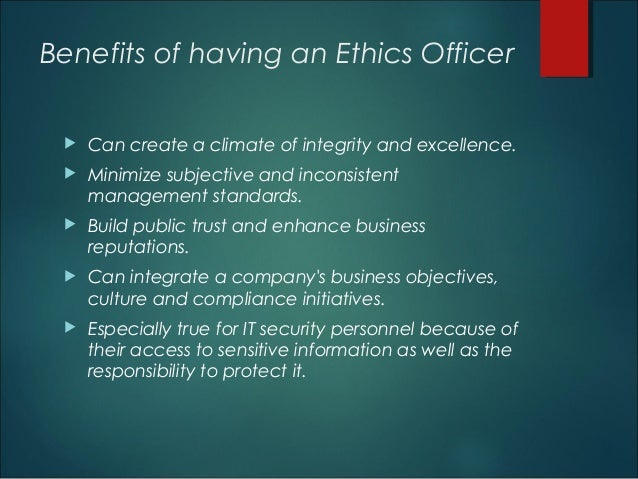 Should every listed company have an ethics officer - Ethics compliance officer ...