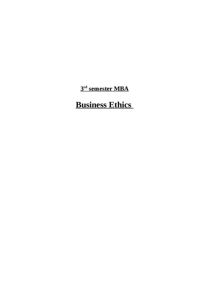 3rd semester MBABusiness Ethics