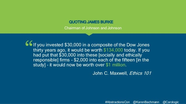 """"""" #AbstractionsCon @KarenBachmann @Carologic QUOTING JAMES BURKE If you invested $30,000 in a composite of the Dow Jones t..."""